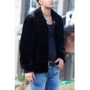 Mens Vintage Plain Black Long Sleeve Zip Placket Short Faux Mink Jacket Coat