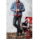 Mens Stylish Patched Drawstring Hood Long Sleeve Button Down Thick Denim Jacket