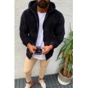 Mens Casual Warm Solid Color Long Sleeve Zipper Placket Thick Fluffy Hoodie