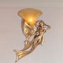 1 Light Wall Light Fixture Country Style Bell Amber Glass Wall Mount Lighting with Golden Mermaid Design, Left/Right