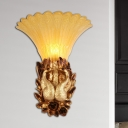 Gold Phoenix Sconce Lighting Modern Style Resin 1 Light Foyer Wall Mounted Lamp with Amber Glass Bell Shade