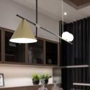 Conical Metal Island Lamp Modernism 3 Lights Gold/Black Hanging Light Fixture for Dining Room