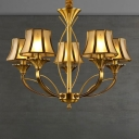 Gold 5/6/8 Heads Chandelier Lamp Colonization Frosted White Glass Flared Pendant Light Kit with Curved Metal Arm