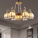 9 Bulbs Ball Chandelier Lamp Colonial Gold Opal Frosted Glass Hanging Ceiling Light