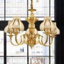 5/6 Bulbs Sandblasted Glass Chandelier Colonial Gold Flower Living Room Pendant Lighting Fixture