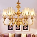 Scalloped Living Room Ceiling Chandelier Colonial Curved Frosted Glass 3/6 Heads Gold Hanging Light Fixture