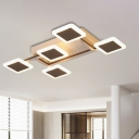 Black Square Flush Mount Lighting Contemporary Acrylic LED Ceiling Fixture in Warm/White Light, 23.5