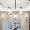 Oval/Rugby/Dome Clear Glass Suspension Light Traditional 12