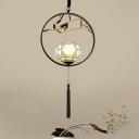Black/Gold Circle Down Lighting Pendant Traditional Metal 1 Light Restaurant Ceiling Suspension Lamp with Porcelain Shade