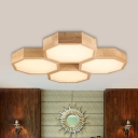 Wood Octagon Shaped Ceiling Flush Mount Modern Style 4 Lights Flushmount Lighting in Beige
