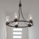 Metal Black Pendant Chandelier Circle 5 Lights Vintage Ceiling Hang Fixture with Clear Glass Cylinder Shade