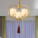 Drum Fabric Ceiling Chandelier Classic 3/6 Lights Dining Room Pendant Lighting Fixture in Brass