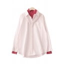 Fashion Girls' Long Sleeve High Neck Button Down Pocket Patched Contrasted Oversize False Two-Piece Top