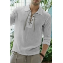 Mens Street Style Plain Lace-Up Front Lapel Collar Long Sleeve Loose Fit Thin Shirt Top