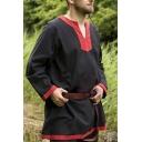 Mens Vintage Contrast Trim V-Neck Long Sleeve Tunic Linen Blouse Top