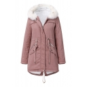 Thick Fancy Long Sleeve Hooded Zipper Front Drawstring Pockets Side Slit Back Fuzzy Trim Boxy  Plain Midi Parka Coat for Girls