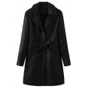 Cool Women's Long Sleeve Peak Collar Double Breasted Bow Tie Waist Sherpa Liner Ruched Loose Fit Plain Leather Coat