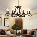 Starburst Living Room Chandelier Lamp Antique Metal 5/6/8 Heads Black Suspended Lighting Fixture