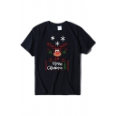 Chic Popular Girls' Short Sleeve Crew Neck Letter MERRY CHRISTMAS Reindeer Printed Relaxed Christmas Tee