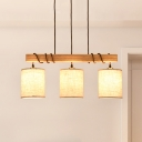 Wood Cylinder Hanging Chandelier Contemporary 3 Lights Fabric Island Light for Dining Room