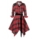 Fashion Ladies' Roll Up Sleeve Lapel Neck Plaid Printed Button Lace Patched Buckle Belted Asymmetric Midi Flared Pleated A-Line Shirt Dress