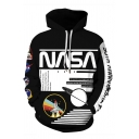 Classic Letter NASA Spaceship 3D Print Long Sleeve Unisex Black Pullover Hoodie