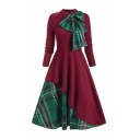 Female Unique Fashion Long Sleeve Stand Collar Bow Tie Zip Back Plaid Printed Patched Maxi Pleated Flared Dress