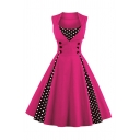 Formal Vintage Ladies' Sleeveless Lapel Collar Polka Dot Patched Double Breasted Long Pleated Flared Dress