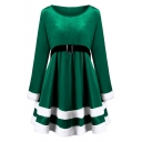 Fashion Party Girls' Plain Long Sleeve Round Neck Buckle Belted Velvet Fluff Patched Midi Pleated Flared Dress