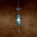 Hand Blown Glass Tan/Purple/Blue Hanging Light Cone 1 Light Moroccan Suspension Pendant for Coffee Shop