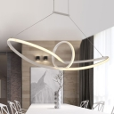 White Seamless Curve Pendant Chandelier Minimalist Acrylic LED Suspension Light in Warm/White/Natural Light