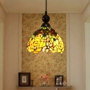 Tiffany Petal Pendant Lamp 1 Light Stained Art Glass Hanging Ceiling Light in Pink/Yellow for Corridor