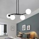 Milky Glass Orb Chandelier Light Modern Black Ceiling Light Fixture for Living Room