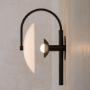 1 Light Curved Arm Wall Sconce Light with Saucer Ribbed Glass Shade Modern Wall Lamp in Black