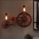 Metal Gear Wall Lamp Vintage 2 Lights Indoor Sconce Lighting Fixture in Weathered Copper
