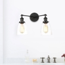 Clear Glass Tapered Wall Lamp Vintage 2 Lights Indoor Sconce Light Fixture in Black/Bronze/Brass