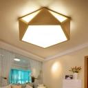 Geometric Flush Light Contemporary Wood 16.5