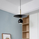 Domed Shade Dining Room Hanging Pendant Light Metal 1 Light Modern Down Lighting in Black