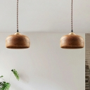 Drum Hanging Lamp Modernist Wood 1 Head Wood Pendant Light Fixture for Living Room
