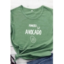 Summer Stylish POWERED BY AVOCADO Print Short Sleeve Cotton Graphic T-Shirt