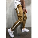 New Trendy Stripe Print Flap Pocket Sweatpants Ankle Banded Pants with Drawstring