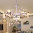 Curving Arm Stained Art Glass Chandelier Lighting Fixture Tiffany 8/9/11 Lights White Hanging Ceiling Light