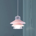 Metal Conical Hanging Light Modernist 1 Bulb Pink Pendant Lighting Fixture for Bedroom