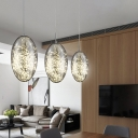 Amber/Smoke Glass Oval Hanging Lamp Modernist LED Ceiling Pendant Light for Restaurant
