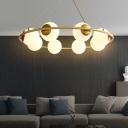 Spherical Chandelier Light Contemporary Frosted White Glass 8 Bulbs Brass Pendant Lighting Fixture