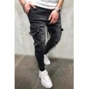 Stylish Drawstring Waist Zipper Embellished Pocket Side Plain Ankle Banded Pants Jeans