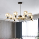Orb Pendant Chandelier Contemporary Cognac Glass 8 Heads Living Room Hanging Ceiling Light