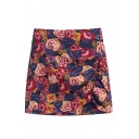 Fancy Ladies' High Waist All Over Floral Print Zipper Side Drawstring Short A-Line Skirt in Red