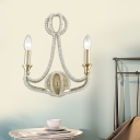 2 Lights Candle Wall Mounted Light Traditional Gold Metal Sconce with Clear Crystal Accent