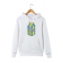 Simple Letter Cartoon Milk Pattern Striped Long Sleeve Loose Drawstring Hoodie for Girls